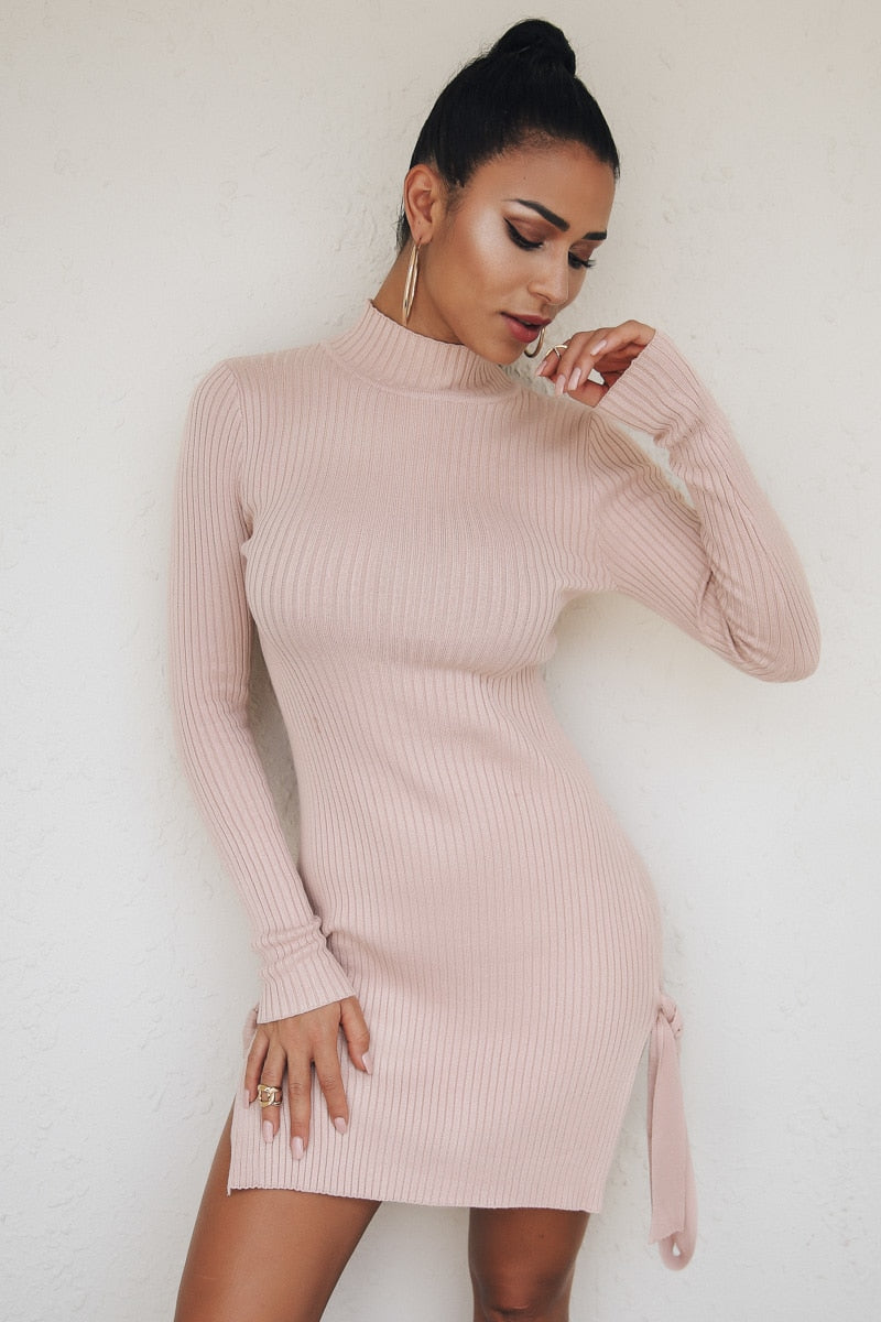 Ribbed Knit High Neck Sweater  Mini Dress - Laveliqus