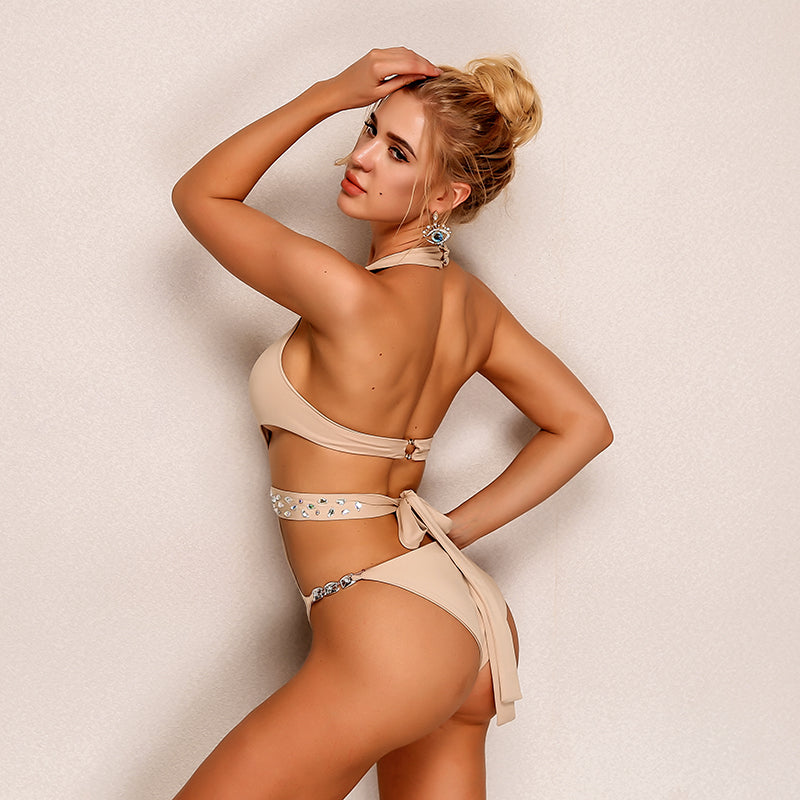 Hollow Out Crystal Beach Wear One-piece Bodysuit