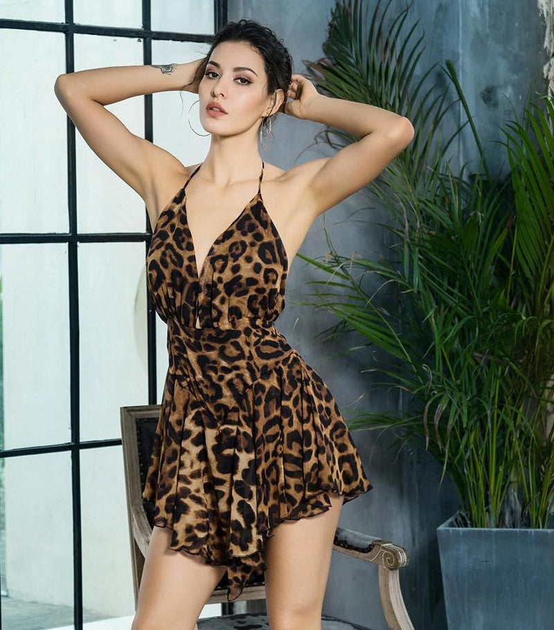 Deep V-Neck Open Back Ruffled Leopard Chiffon Playsuit - Laveliqus