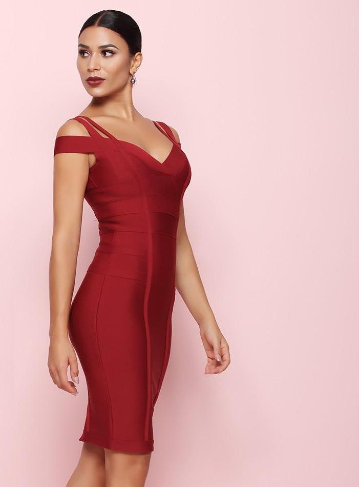 Bandage Off The Shoulder Vestidos Sexy Clubwear Evening Party Dress  LAVELIQ