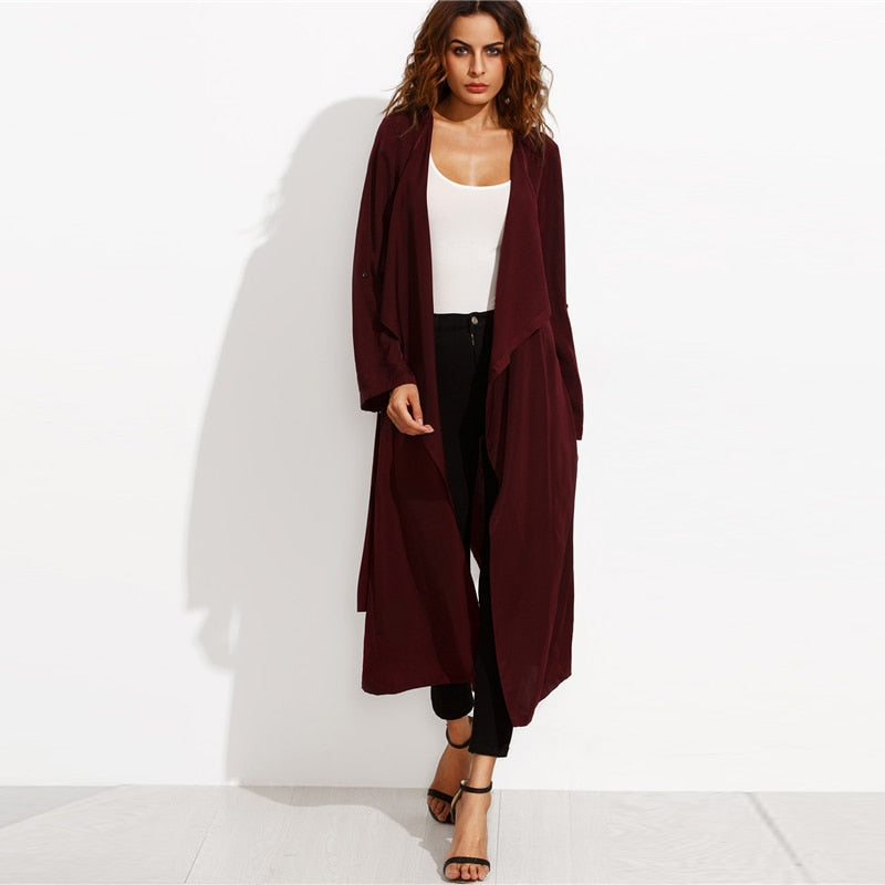 Burgundy Belted Rolled Up Split Back Self Tie Long Trench Coat - Laveliqus