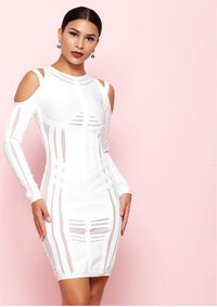 Cold Shoulder Long Sleeve O Neck Bandage Dress - Laveliqus