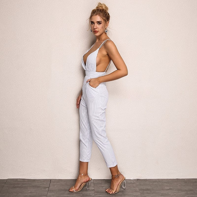 Sleeveless Long V Neck Sexy  Backless Elegant Jumpsuit - Laveliqus