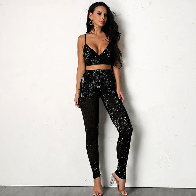 Pink Sequin Jumpsuit V Neck Top and Pants Set - Laveliqus