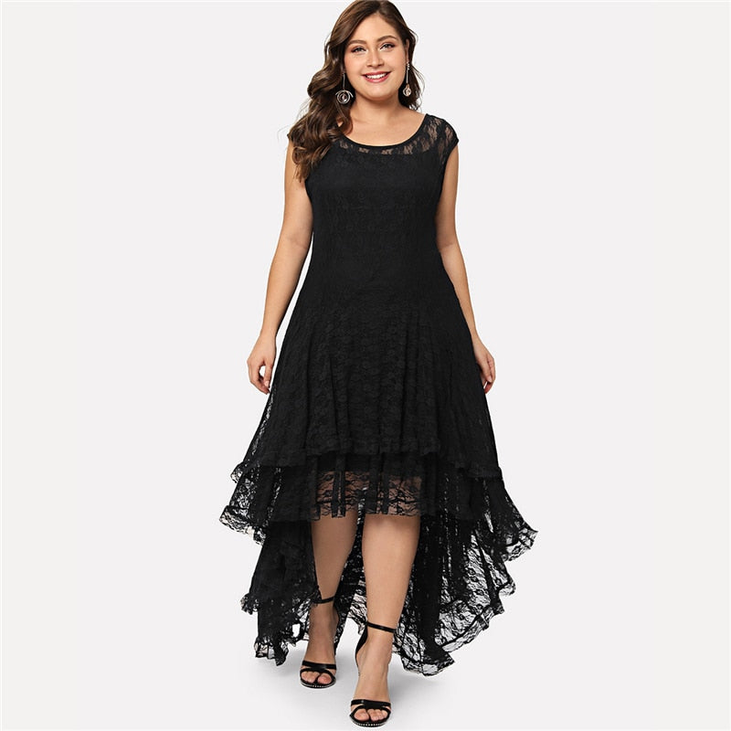 Plus Size Black Backless Dip Hem Layered Floral Lace Dress LAVELIQ - Laveliqus