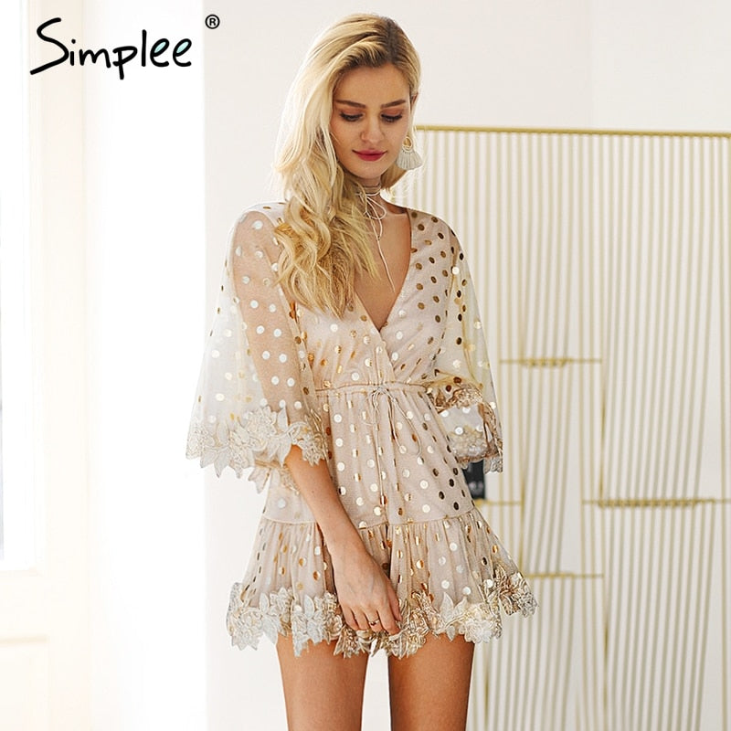 Dot sequin flare sleeve mini dress Sexy v neck backless mesh dress Embroidery high wasit lace up party dress women