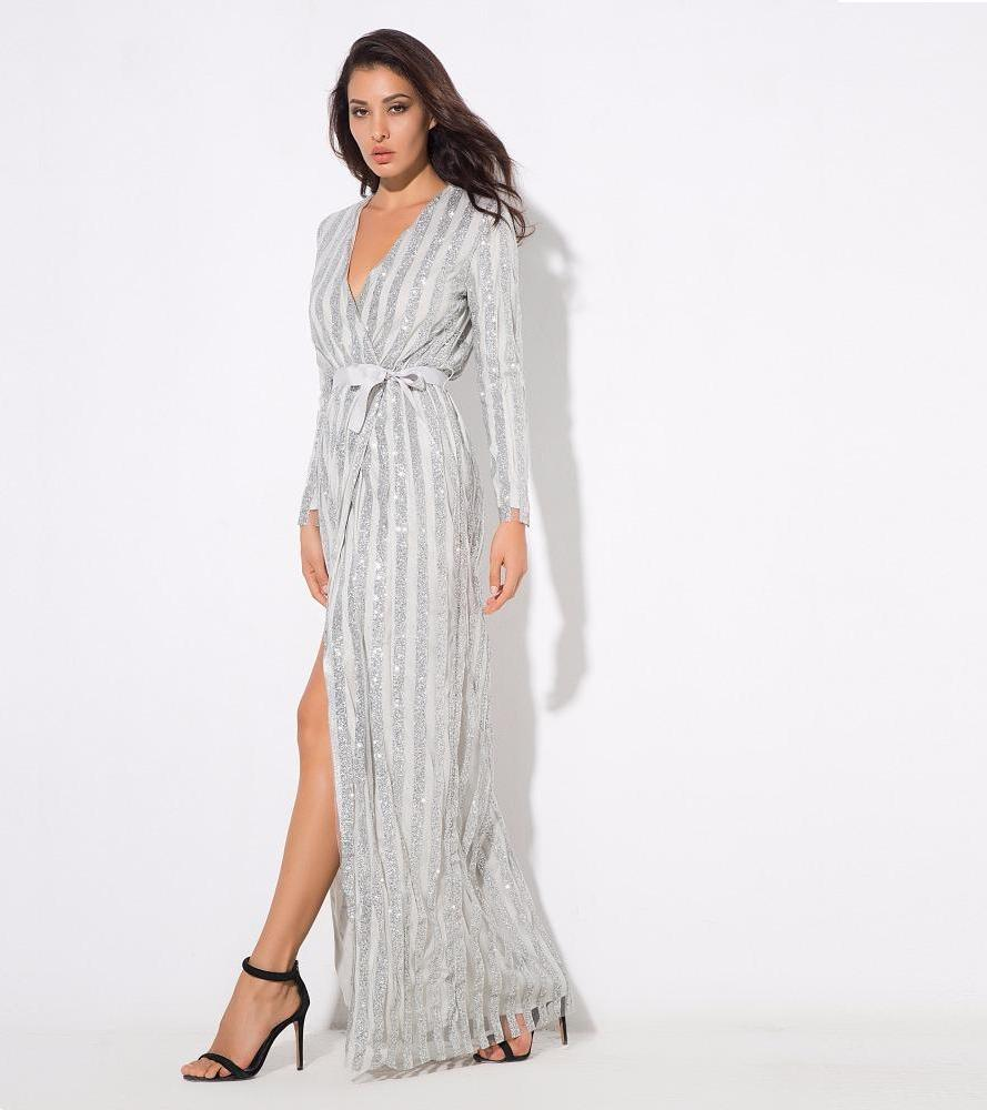 Silver Stripes Sequin Long Sleeve Maxi Dress Long Wrap Dress
