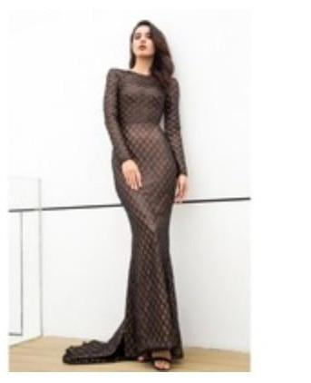 Long Sleeve Open Back Long Maxi Dress Gown - Laveliqus