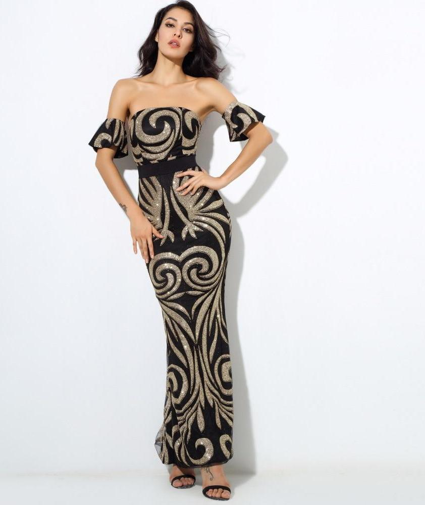 Geometric Pattern Beads Bra Long Dresses Off Shoulder Gold and Black