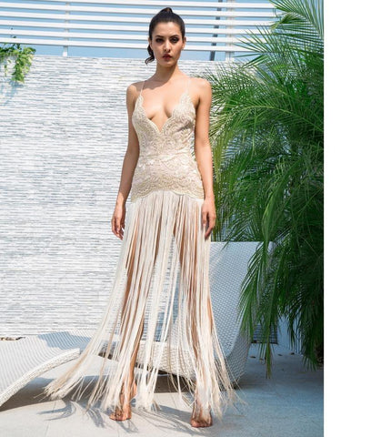 Deep V Neck Open Back Lace Stitching Long Fringe Maxi Dress