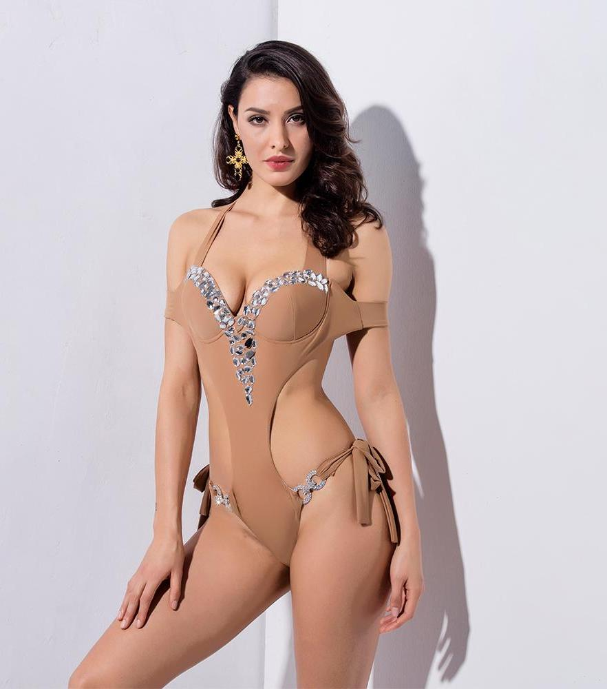Nude Chest Pad Cut Out Beaded Decoration Drop Shoulders Beach Bodysuit