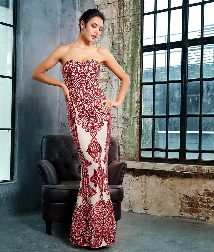 Red Tube Top Fishtail Shape Geometric Sequins Long Dress - Laveliqus