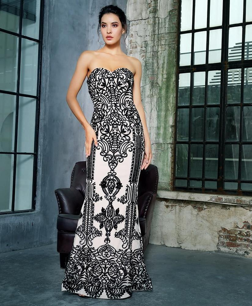 Black Tube Top Fishtail Shape Geometric Sequins Long Dress - Laveliqus