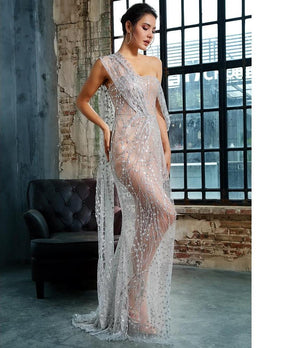 Silver Cross Cut Out Straps Glitter Glued Material Long Dress - Laveliqus
