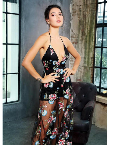 Open Back V Neck Floral Embroidery Mesh Maxi Logn Dress LAVELIQ