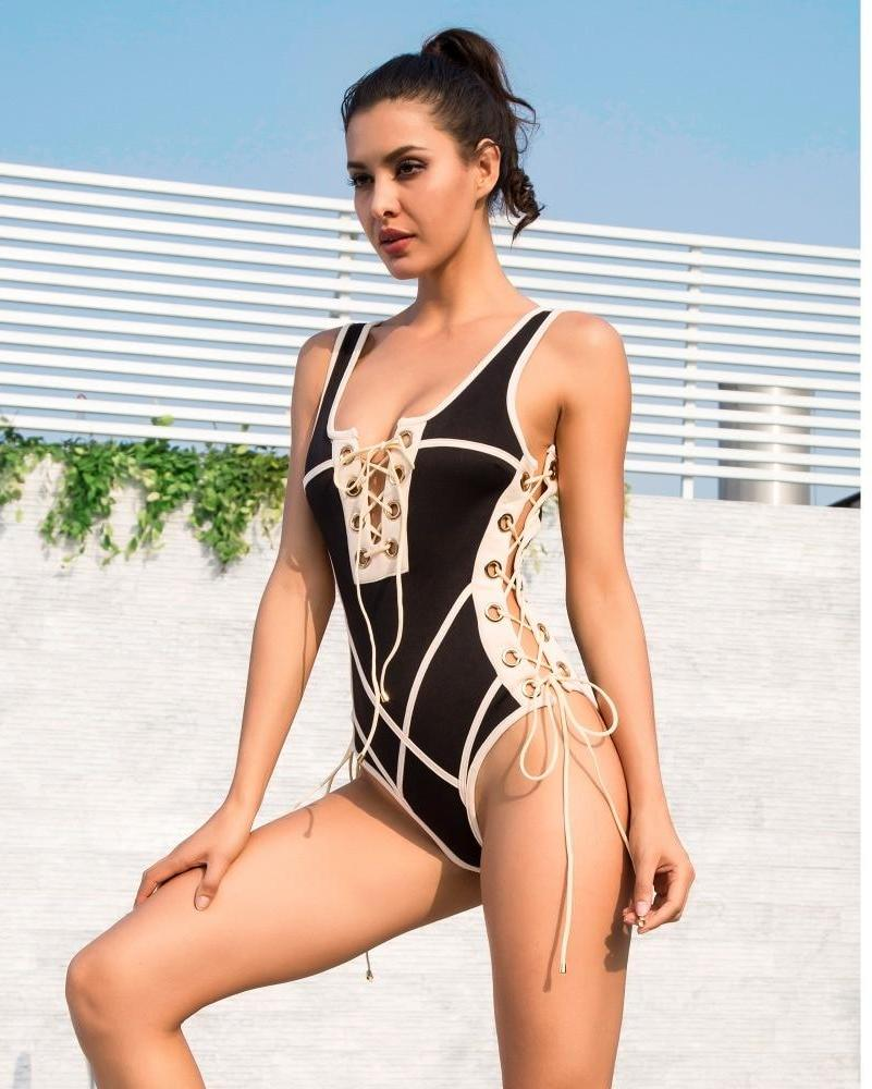 Two-colors splicing Gold Circle Straps Bodysuit