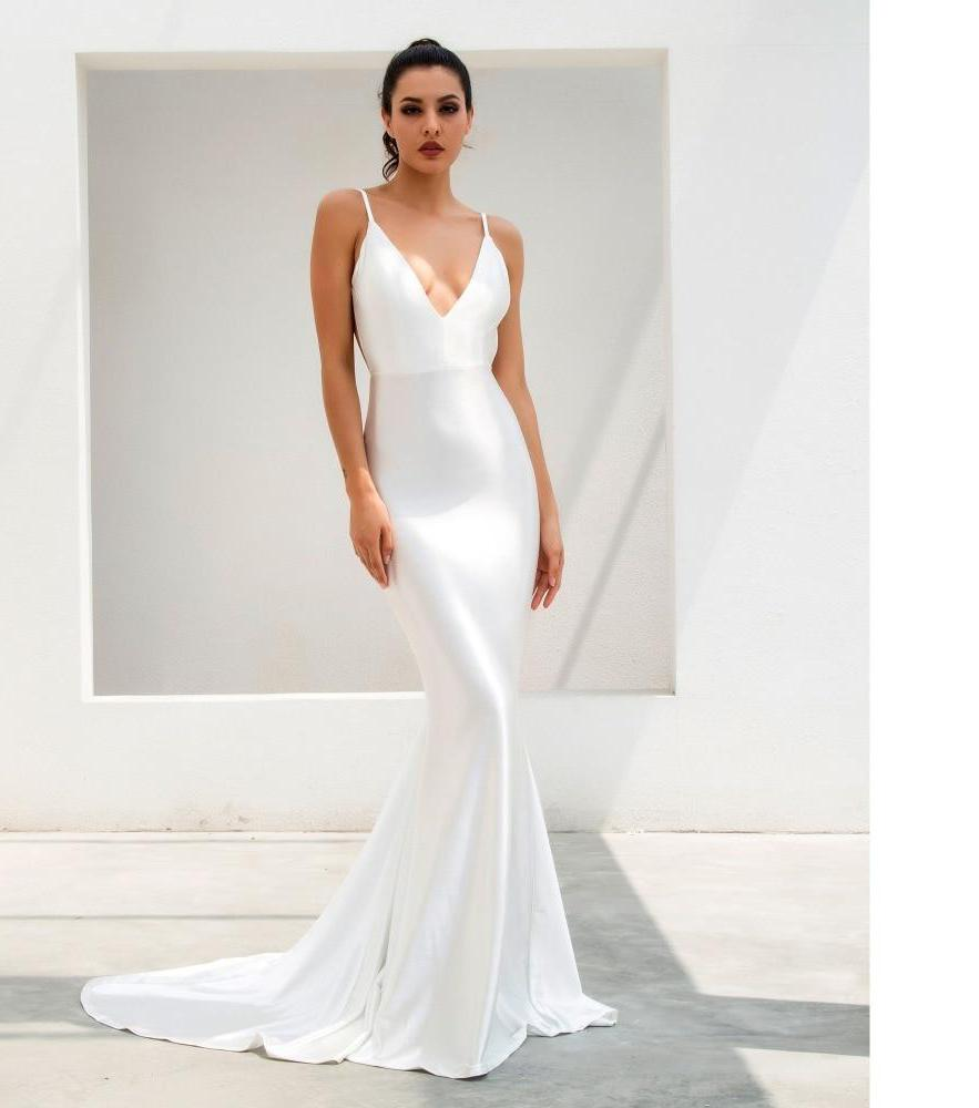 White Deep V-Neck Open Back Slim Fish Tail Flash Material Maxi Dress
