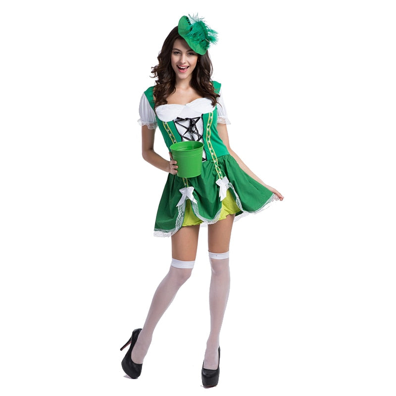 Adult Womens Sexy Luck Of The Irish Gal Beer Girl Oktoberfest St. Patrick's Day Halloween Costume