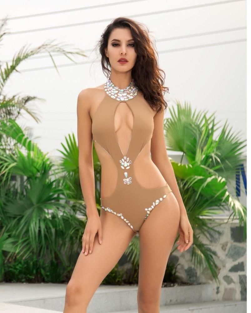 Nude Cut Out Colored Beaded Decoration Beach Bodysuit