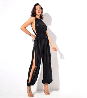 Black Hollow Out  Beach Jumpsuit  LAVELIQ