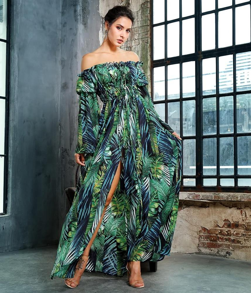Collar Tie Rope Leaf Print Cut Out  Sleeve Long dress