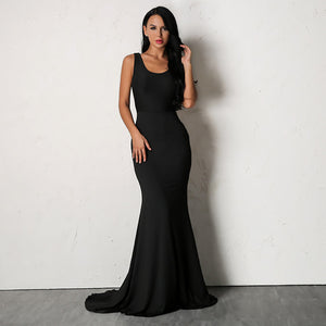 Backless Sexy Women Long Mermaid Dress - Laveliqus