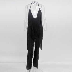 Tassel Fringe Jumpsuit Long Sleeve Deep V Neck Fringe