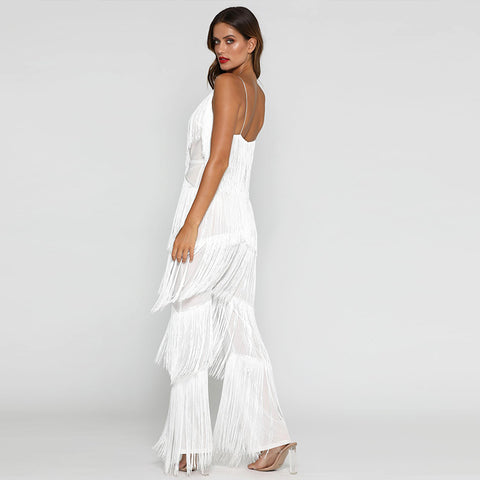 Tassel Jumpsuit Long Sleeve Deep V Neck Fringe
