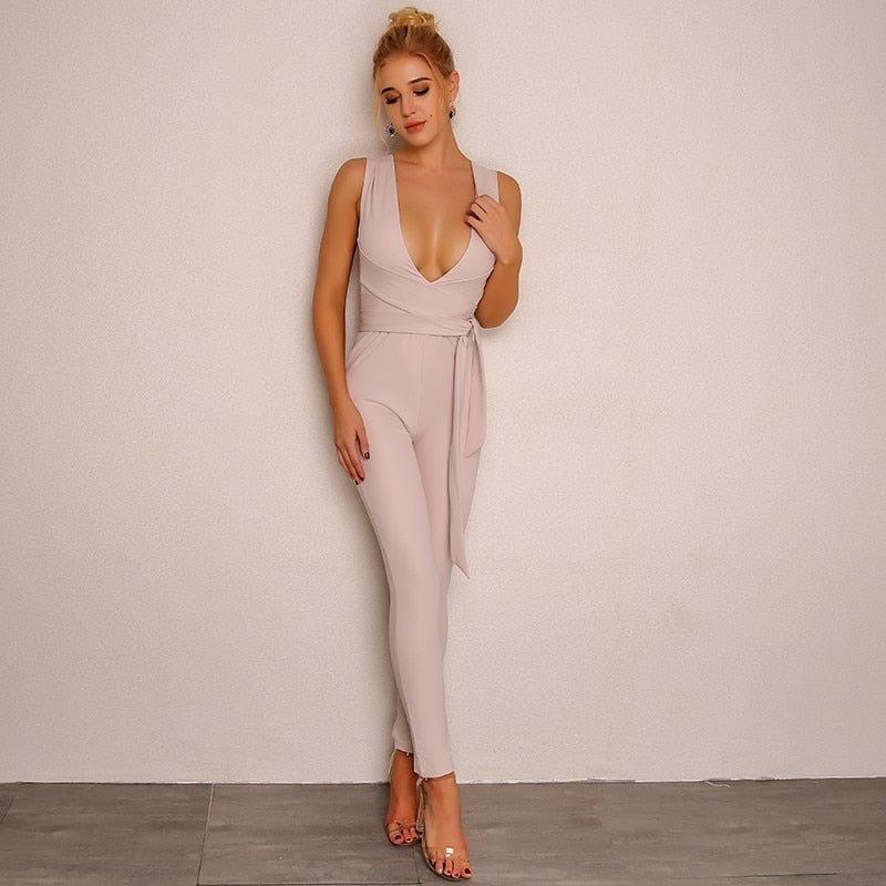 Full Length V Neck Bodycon Jumpsuit  With Belt - Laveliqus