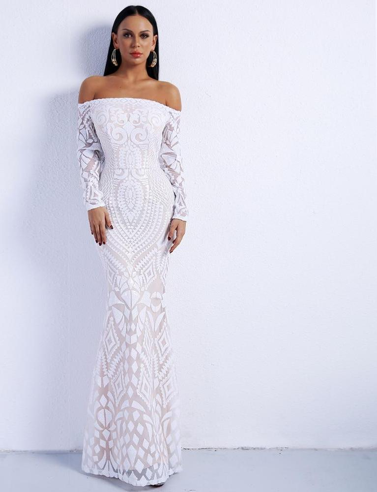 White Off Shoulder Long Sleeve Maxi Dress Gown