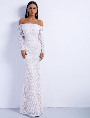 White Off Shoulder Long Sleeve Maxi Dress Gown - Laveliqus