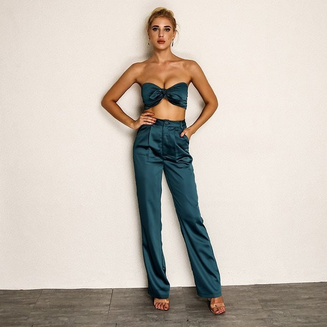 Solid Backless Bodycon Long Pants Crop Top - Laveliqus