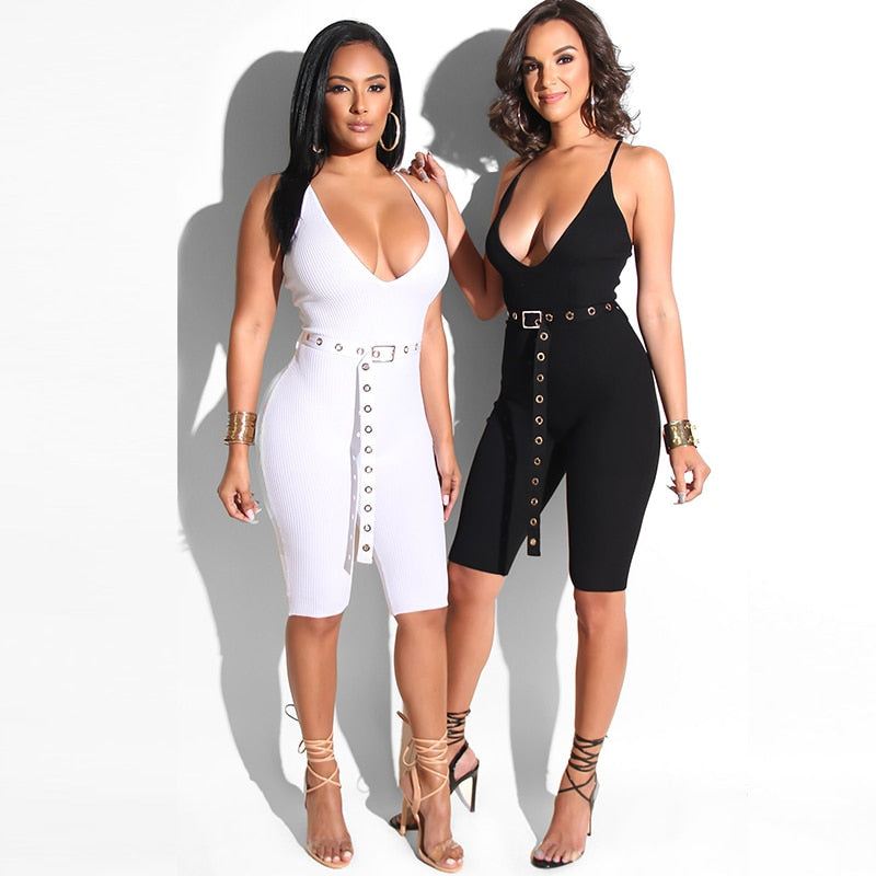 Sexy V Neck Night Club Wear Jumpsuit
