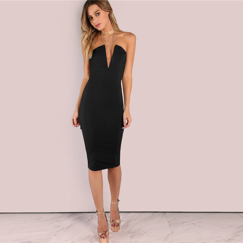Black Sexy Backless Deep V Neck Strapless Bandeau Party Dress LAVELIQ
