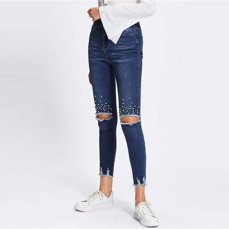 Blue Jeans Casual Ripped Denim - Laveliqus
