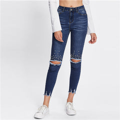 Blue Jeans Casual Ripped Denim