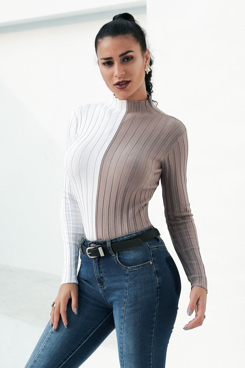 White and gray patchwork high neck sweater - Laveliqus