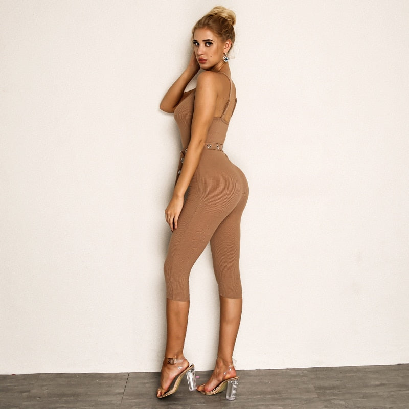 Spaghetti Strap Knitted Long Jumpsuit - Laveliqus