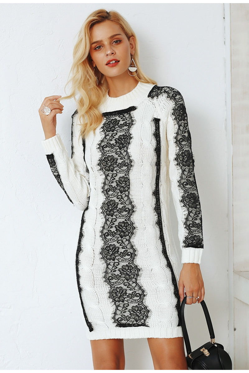 O Neck Black and White Sweater Long Sleeve Lace Pattern - Laveliqus