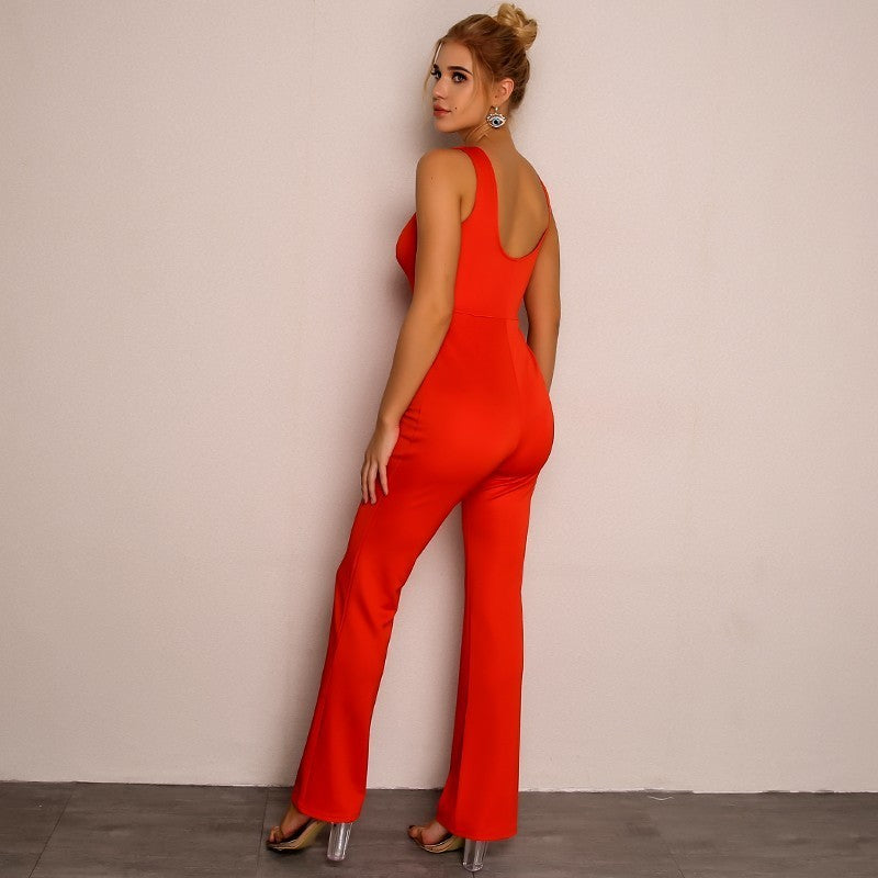 Sexy V neck Full Length Bodycon Jumpsuit - Laveliqus