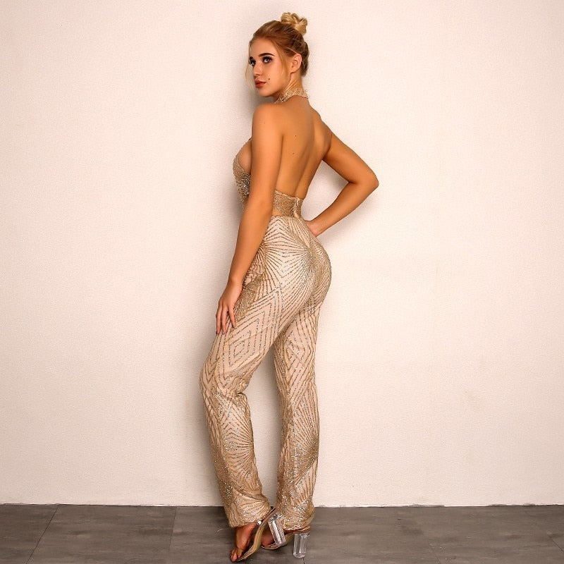 Summer Bodycon Lace Long Jumpsuit - Laveliqus