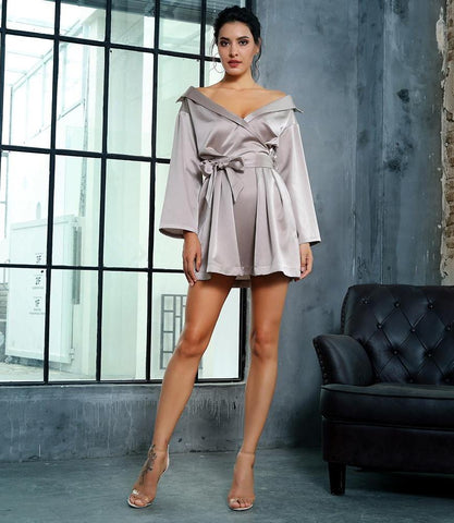 Silver Deep V Neck Mini Dress LAVELIQ