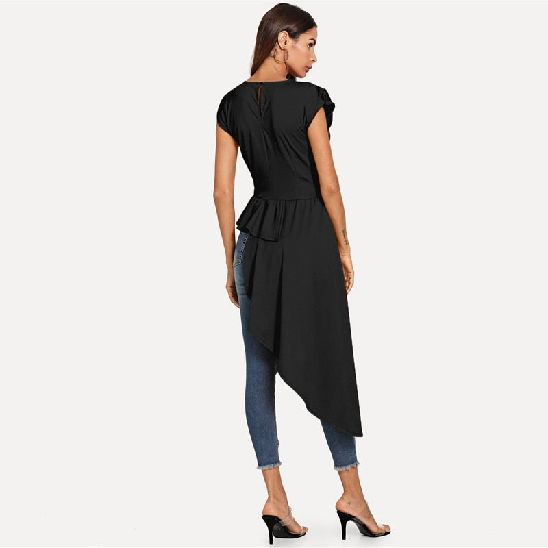 Black Workwear Asymmetrical Hem Keyhole Back Women Blouse LAVELIQ - Laveliqus