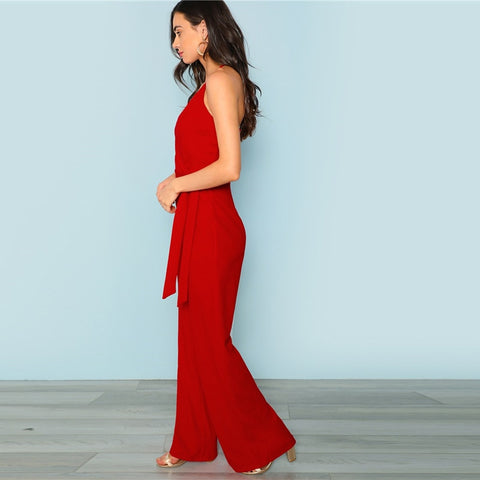 Red Sexy Deep V neck Crisscross Wrap Tie Waist Wide Leg Cami Jumpsuit LAVELIQ