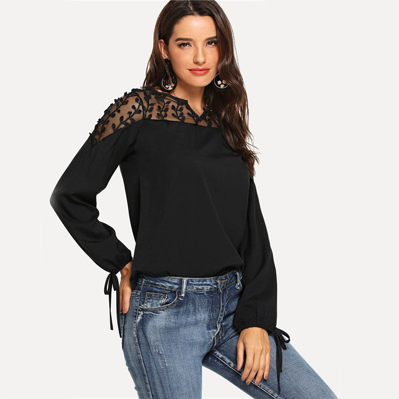 Black Bow Detail Cuff Lace Casual Blouse  LAVELIQ