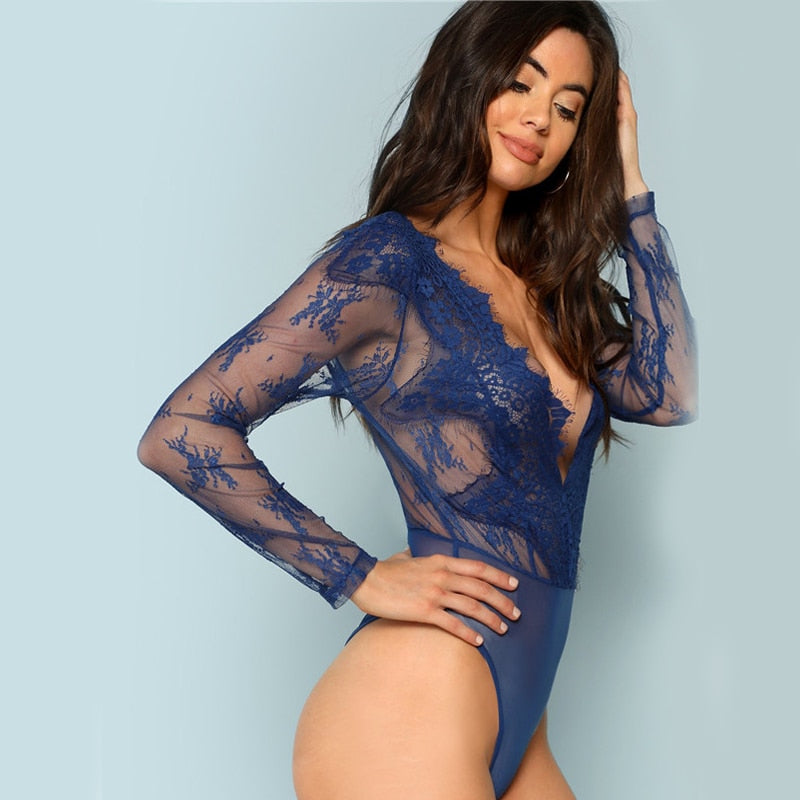 Blue Sexy V Neck Floral Embroidery Sheer Lace Skinny Bodysuit LAVELIQ