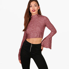 Casual Turtle Neck Bell Long Sleeves Top