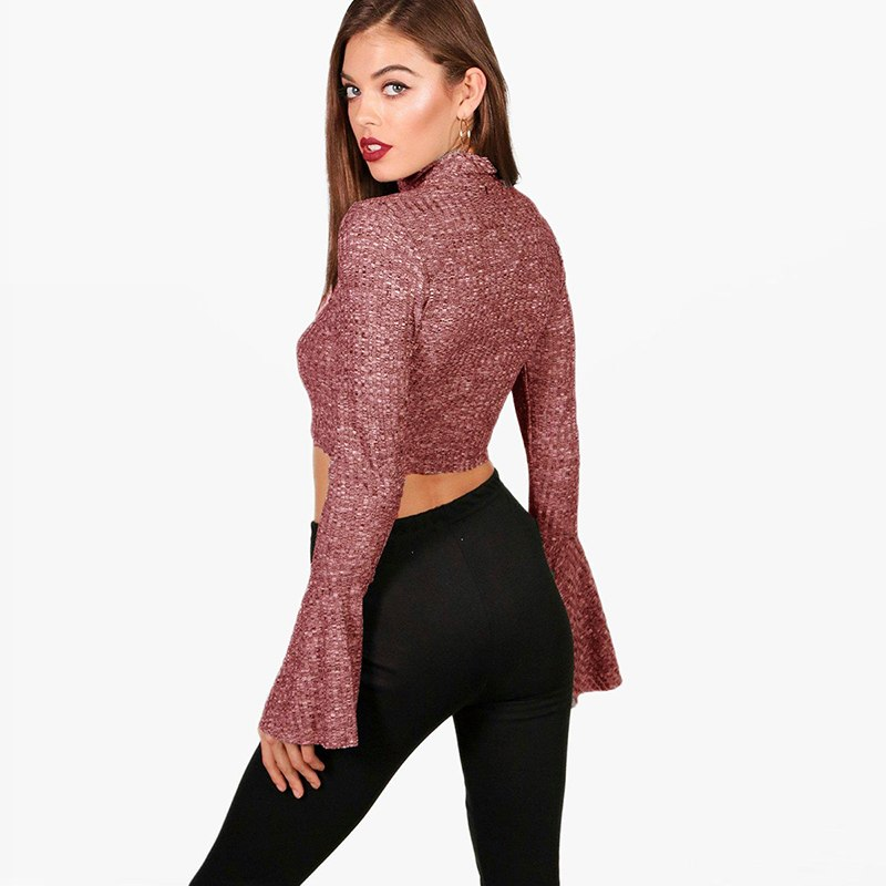 Casual Turtle Neck Bell Long Sleeves Top - Laveliqus