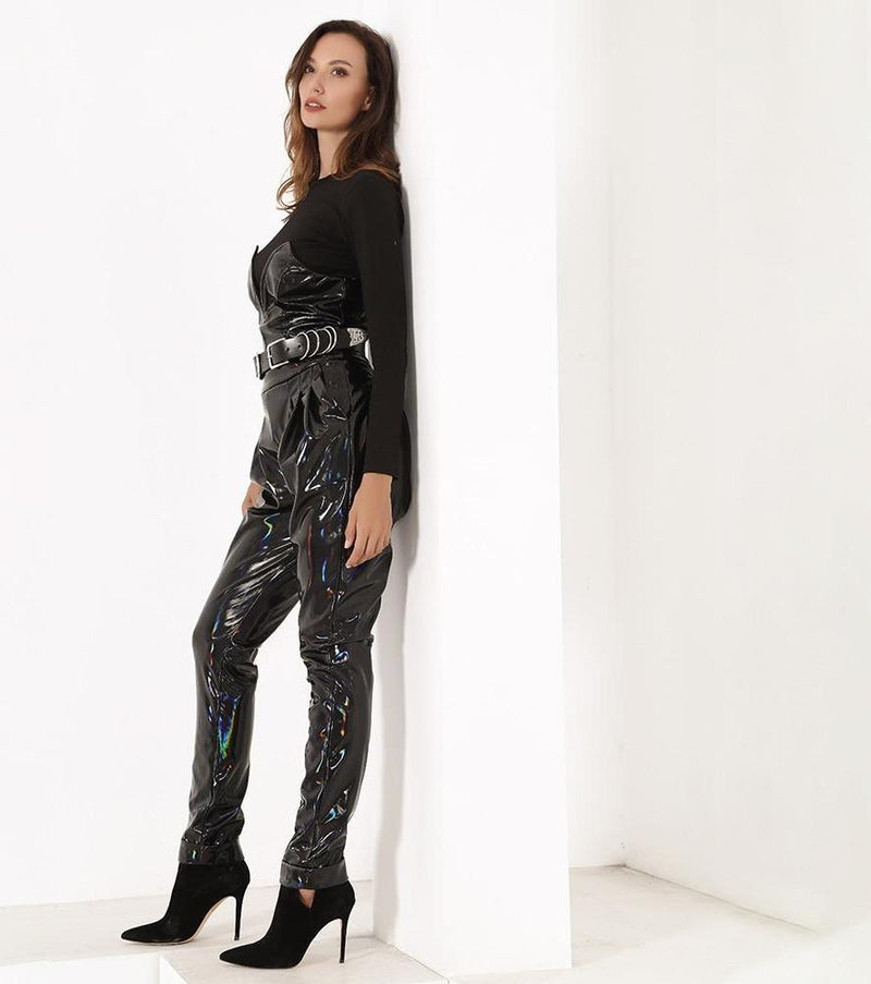 Black Deep V-neck Colorful Reflective PU Material Jumpsuits
