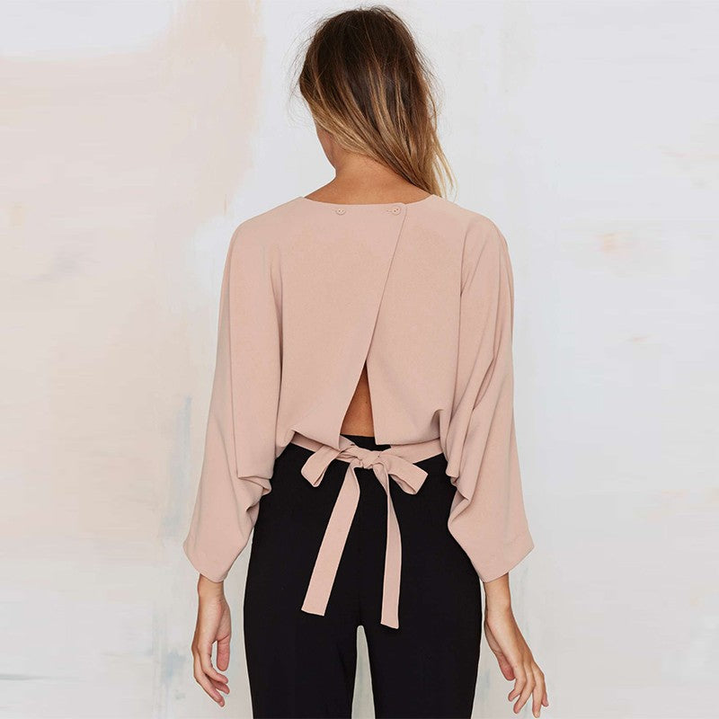 Backless Solid Three Quarter Sleeve Crop Top Laveliq - Laveliqus